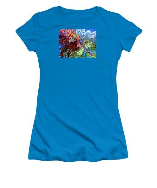Two Dragonflies Women's T-Shirt (Junior Cut) by Genevieve Esson
