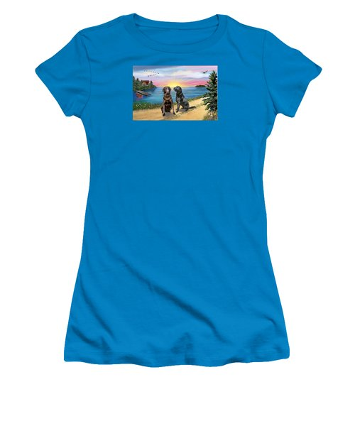 Two Labs At The Lake Women's T-Shirt (Athletic Fit)