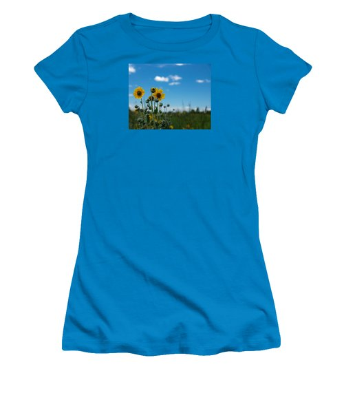Yellow Flower On Blue Sky Women's T-Shirt (Junior Cut) by Photographic Arts And Design Studio