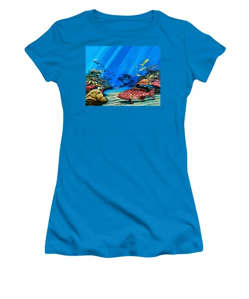 Yellowfin Grouper Wreck Women's T-Shirt (Athletic Fit)