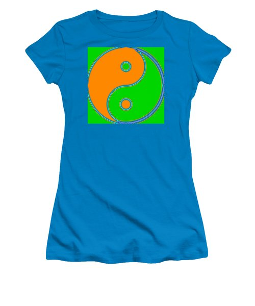 Yin Yang Orange Green Pop Art Women's T-Shirt (Athletic Fit)