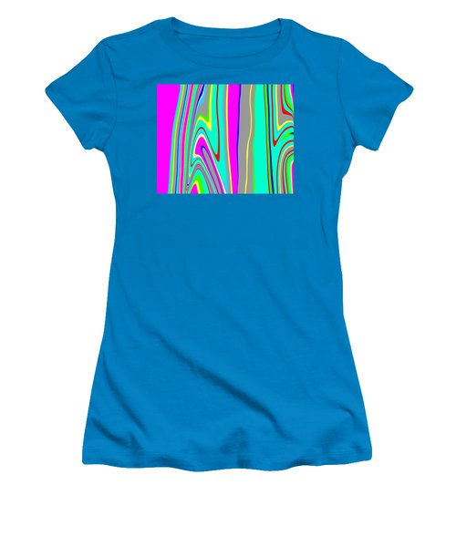 Women's T-Shirt (Junior Cut) featuring the painting Yipes Stripes II  C2014 by Paul Ashby