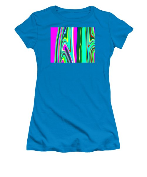 Women's T-Shirt (Junior Cut) featuring the painting Yipes Stripes II Variation  C2014 by Paul Ashby