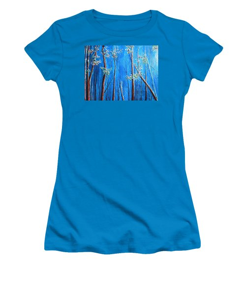 Women's T-Shirt (Junior Cut) featuring the painting Waiting by Dan Whittemore
