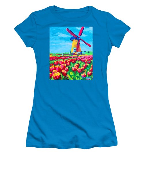 Windmill And Tulips Women's T-Shirt (Athletic Fit)