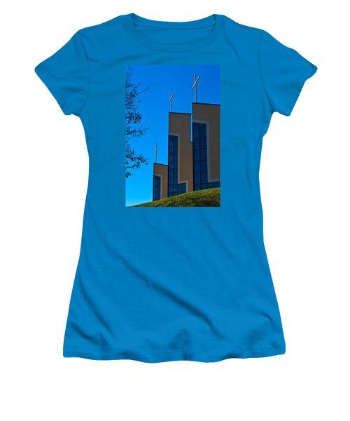 Women's T-Shirt (Junior Cut) featuring the photograph Crosses Of Livingway Church by Ed Gleichman