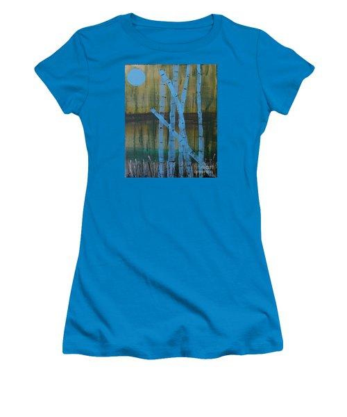 Pale Blue Moon Women's T-Shirt (Athletic Fit)