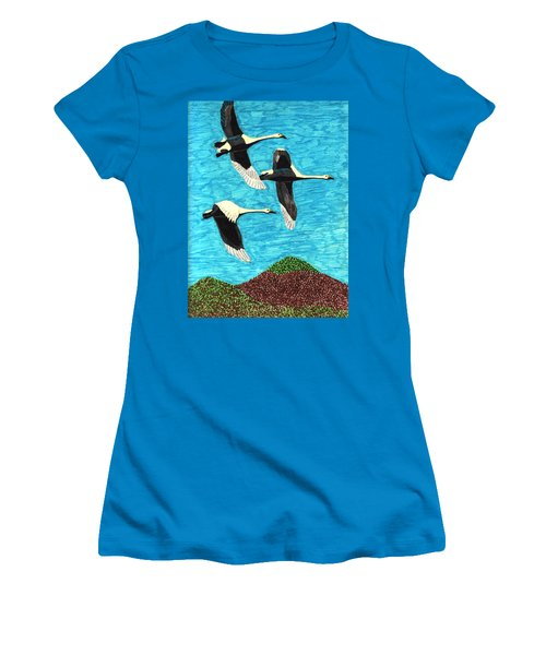 Swans In Flight Women's T-Shirt (Junior Cut) by Wendy McKennon