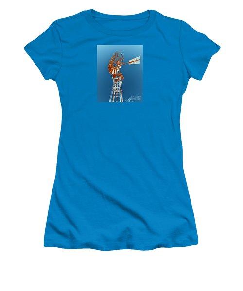 Windmill Rust Orange With Blue Sky Women's T-Shirt (Junior Cut) by Rebecca Margraf