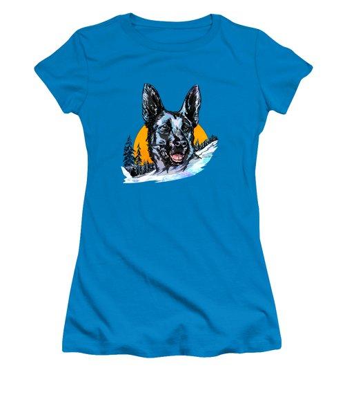 Women's T-Shirt (Junior Cut) featuring the drawing  Alsatian by Andrzej Szczerski