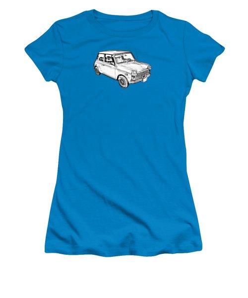 Mini Cooper Illustration Women's T-Shirt (Junior Cut) by Keith Webber Jr