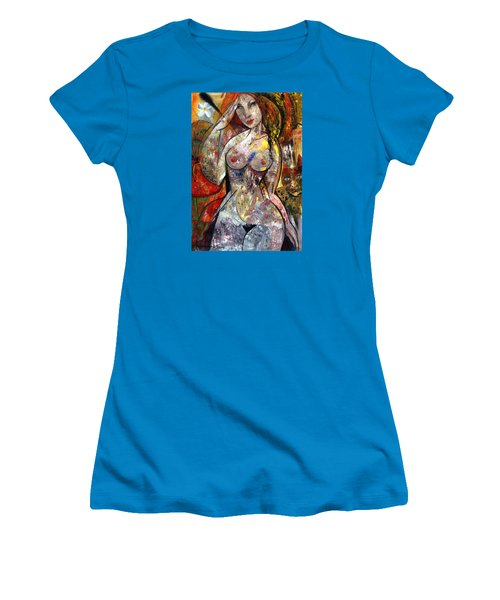 Women's T-Shirt (Junior Cut) featuring the painting  Naked by Mikhail Savchenko