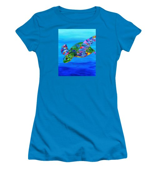 Abstract Mehndi Sea Turtle  Women's T-Shirt (Athletic Fit)