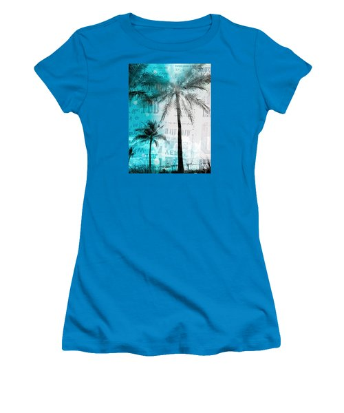 Miami Palm Trees Women's T-Shirt (Junior Cut) by France Laliberte