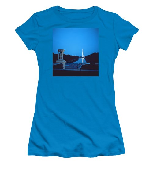 Night View Of The Washington Monument Across The National Mall Women's T-Shirt (Athletic Fit)