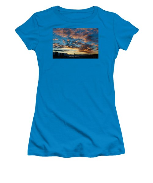 Space Needle In Clouds Women's T-Shirt (Junior Cut) by Suzanne Lorenz