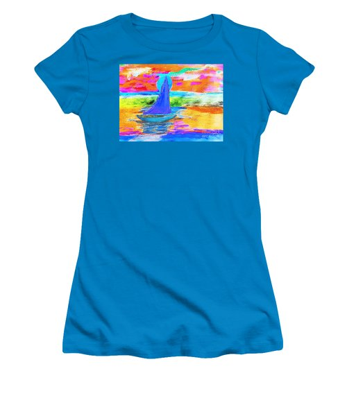 Watercolor Sailing Women's T-Shirt (Junior Cut) by Scott D Van Osdol