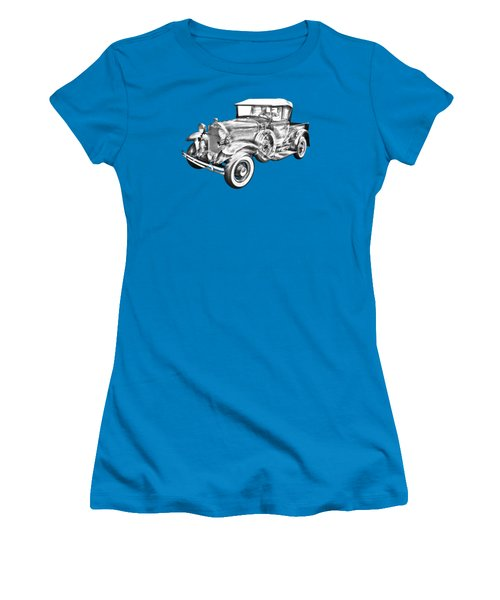 1930 Ford Model A Pickup Truck Illustration Women's T-Shirt (Junior Cut) by Keith Webber Jr