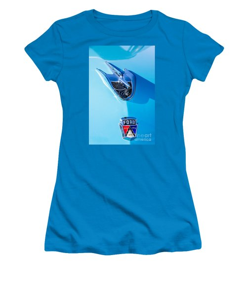 Women's T-Shirt (Junior Cut) featuring the photograph 1956 Ford Hood Ornament by Aloha Art