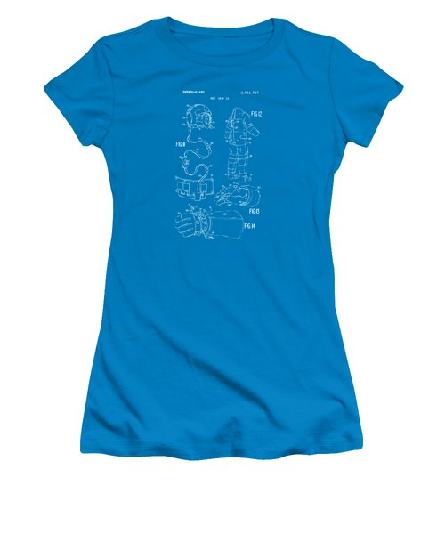 1973 Space Suit Elements Patent Artwork - Blueprint Women's T-Shirt (Athletic Fit)