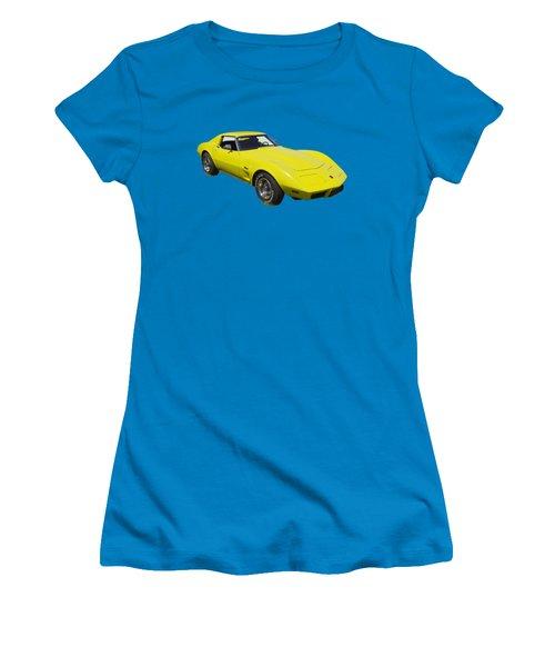 1975 Corvette Stingray Sportscar Women's T-Shirt (Junior Cut) by Keith Webber Jr