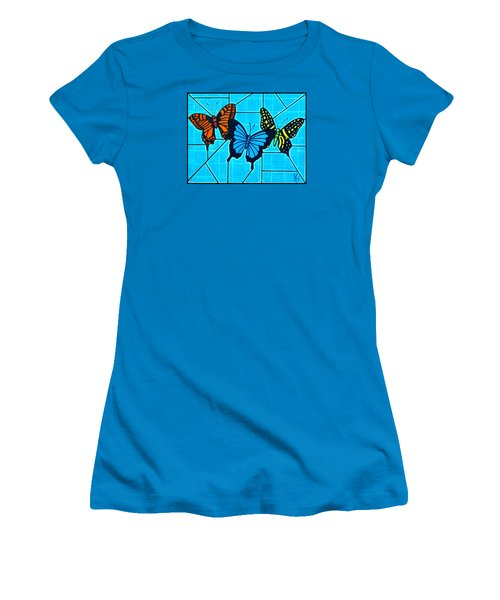 3  Butterflies On Blue Women's T-Shirt (Junior Cut) by Jim Harris