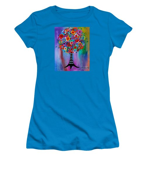 Women's T-Shirt (Junior Cut) featuring the painting Tree Of Life by Pristine Cartera Turkus