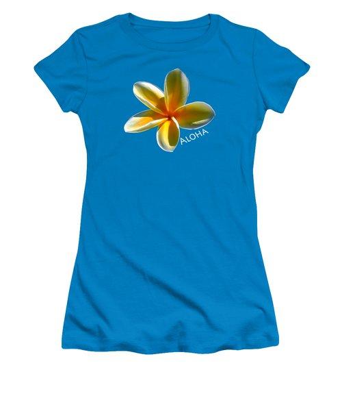 Aloha Plumeria Women's T-Shirt (Junior Cut) by Pamela Walton