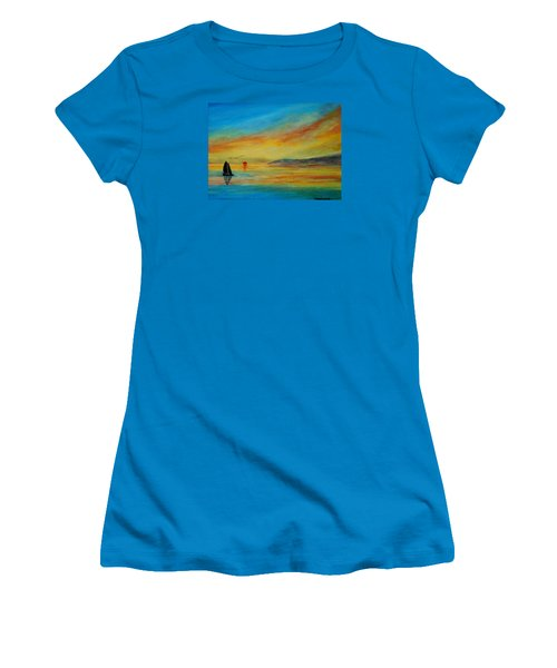 Alone In Winter Sunset Women's T-Shirt (Athletic Fit)