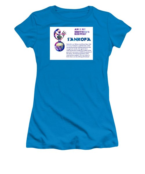 Am I My Brother's Keeper? Aqua Women's T-Shirt (Junior Cut) by Jacqueline Lloyd