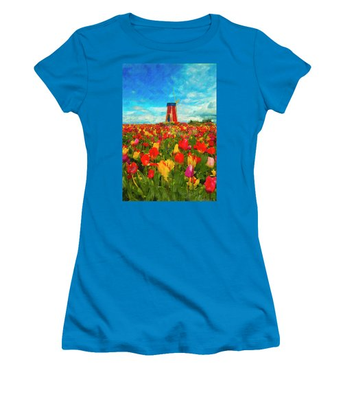 Amongst The Tulips Women's T-Shirt (Athletic Fit)