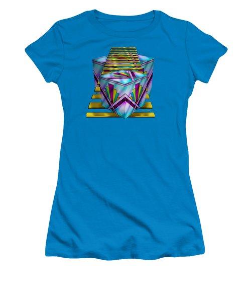Art Deco Cubes - Transparent Women's T-Shirt (Junior Cut) by Chuck Staley