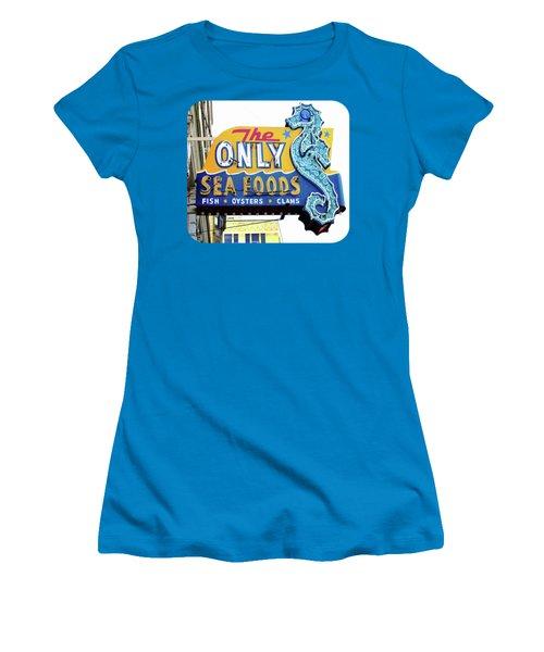 Cafe Sign Women's T-Shirt (Junior Cut) by Ethna Gillespie