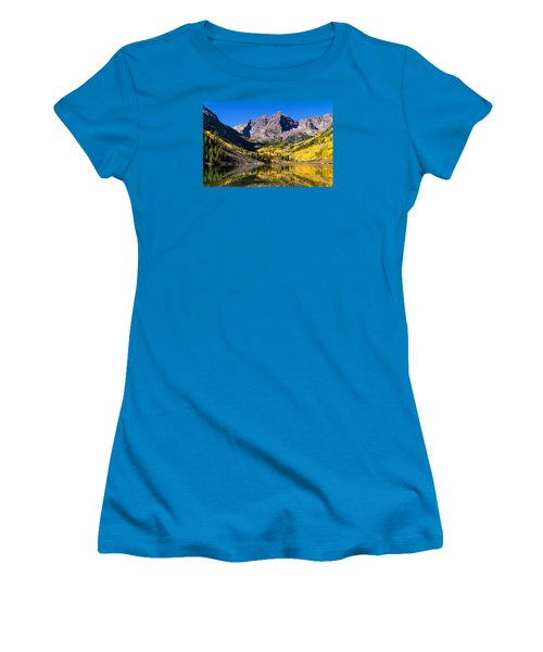Autumn Morning At The Maroon Bells Women's T-Shirt (Junior Cut) by Teri Virbickis