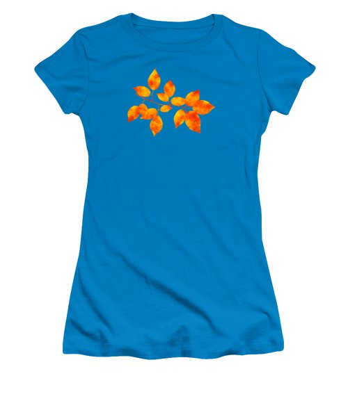 Women's T-Shirt (Junior Cut) featuring the mixed media Black Cherry Pressed Leaf Art by Christina Rollo