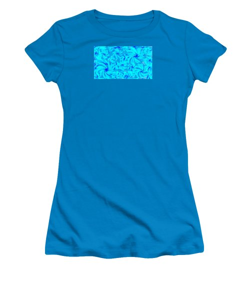 Blue And Turquoise 2 Women's T-Shirt (Junior Cut) by Linda Velasquez