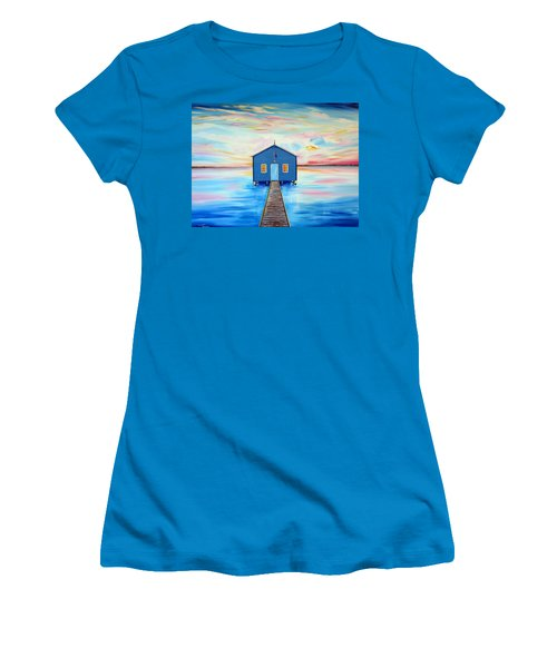 Blue Boat Shed By The Swan River Perth Women's T-Shirt (Athletic Fit)