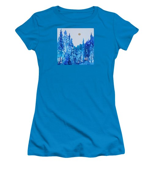 Women's T-Shirt (Junior Cut) featuring the painting Blue Forest by Suzanne Canner