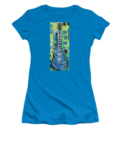 Blue Gibson Guitar Women's T-Shirt (Athletic Fit)