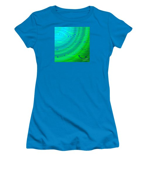 Blue Green Distort Abstract Women's T-Shirt (Athletic Fit)