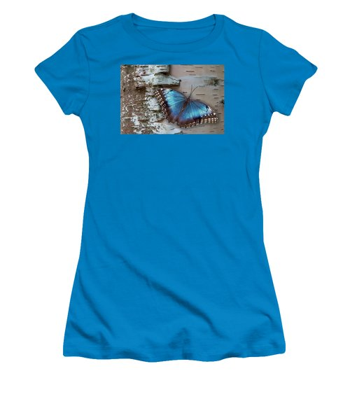 Blue Morpho Butterfly On White Birch Bark Women's T-Shirt (Athletic Fit)