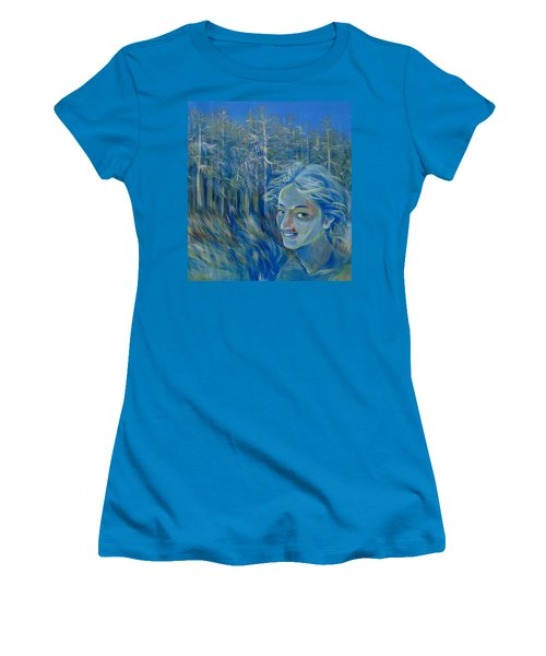 Women's T-Shirt (Junior Cut) featuring the painting Blue Spring by Anna  Duyunova