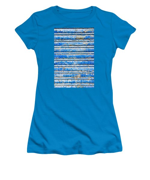Blue Weathered Metal  Women's T-Shirt (Athletic Fit)