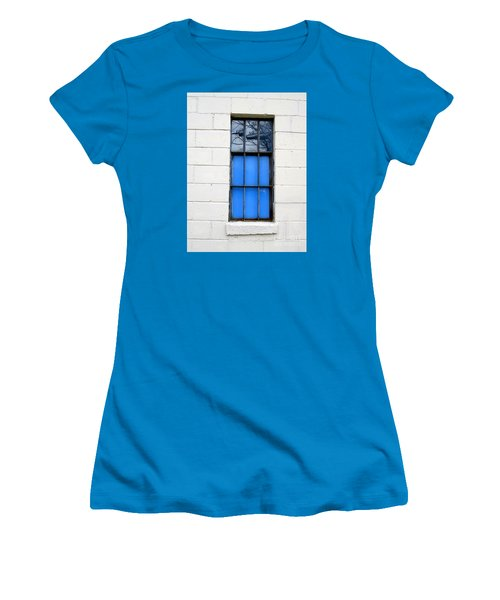Blue Window Panes Women's T-Shirt (Athletic Fit)