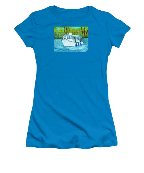 Boat On The River Women's T-Shirt (Junior Cut) by Reb Frost