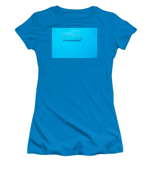 Women's T-Shirt (Junior Cut) featuring the photograph Bright Blue Paint On Metal With Postbox by John Williams