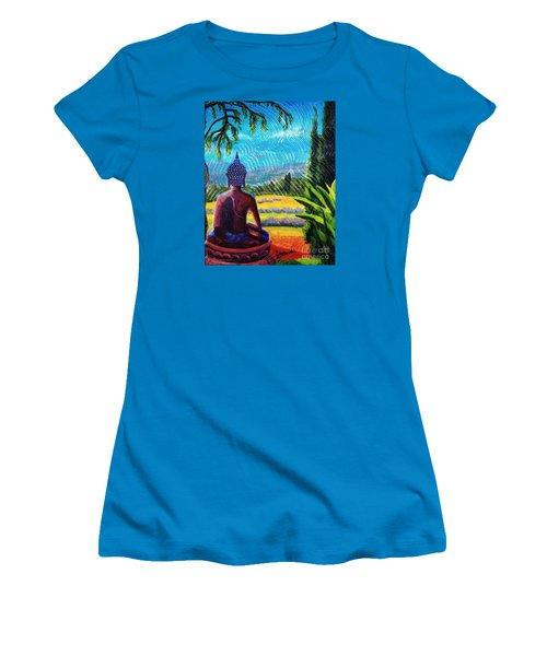 Women's T-Shirt (Junior Cut) featuring the painting Buddha Atop The Lavender Farm by Janet McDonald