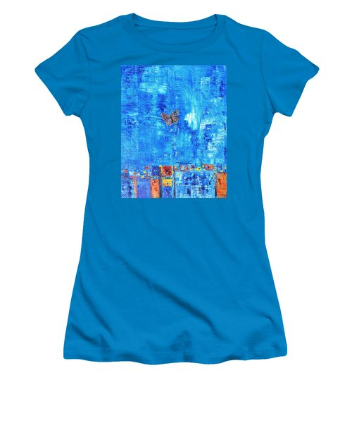 Butterfly In The Wind Women's T-Shirt (Athletic Fit)