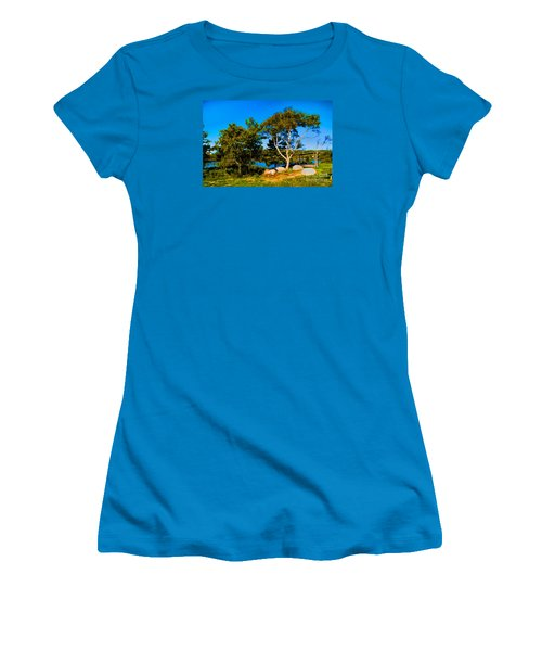 Women's T-Shirt (Junior Cut) featuring the photograph Campfire Lake by Rick Bragan