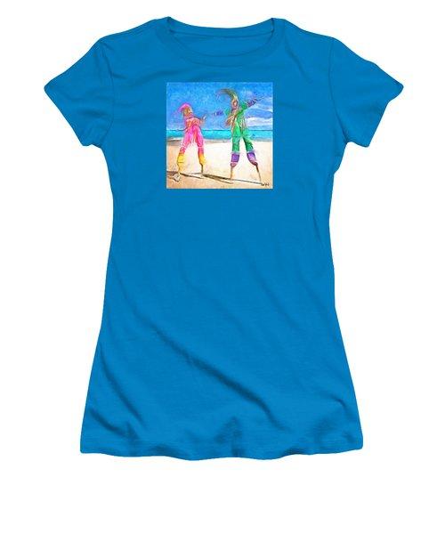 Women's T-Shirt (Junior Cut) featuring the painting Caribbean Scenes - Moko Jumbie by Wayne Pascall